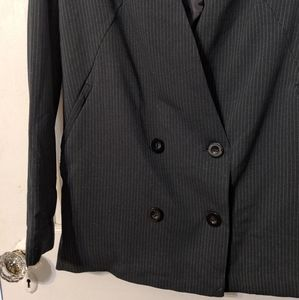 Forever 21 black pinstripe double breasted blazer